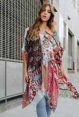 Leto Boho Floral Patchwork Kimono Red