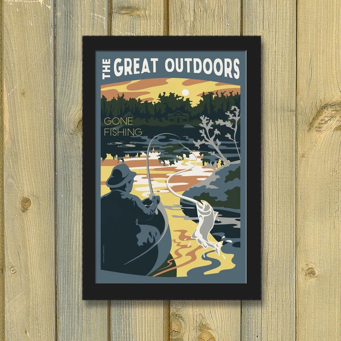 Lionhart Graphics gone fishing travel poster