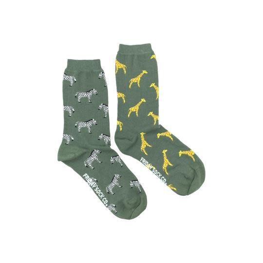 Friday Womens Socks Zebra & Giraffe 5-10