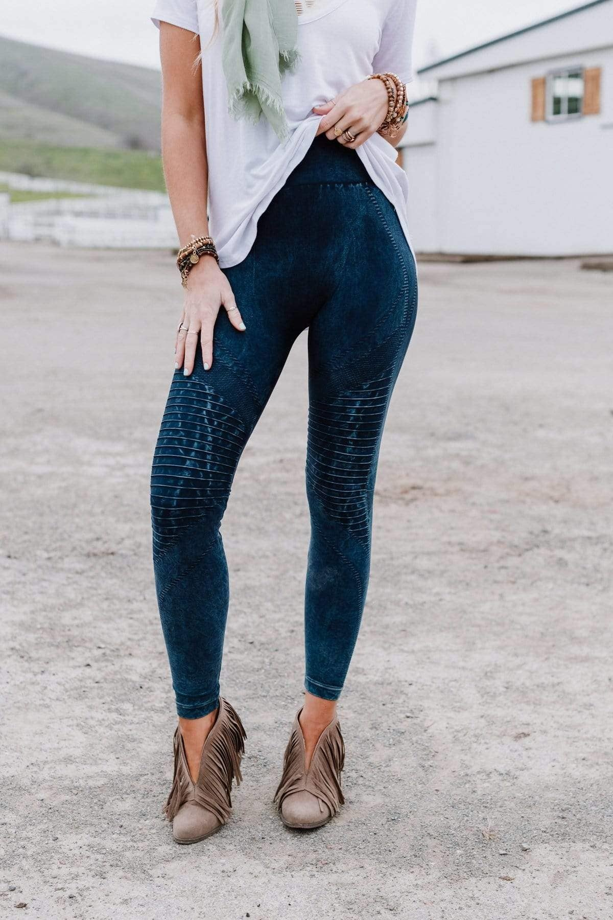 Three Bird Nest Highwaisted Moto Leggings