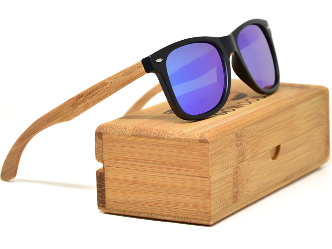 GoWood Sunglasses: Bamboo Wood  w/ Blue Mirrored Polarized Lenses LA-B2-B