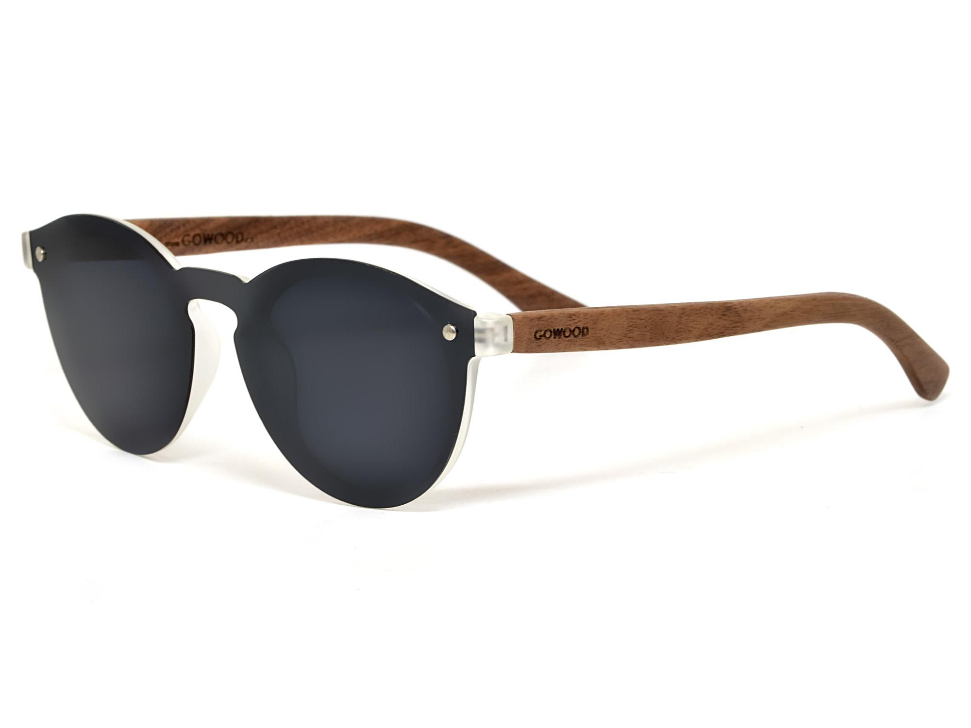 GoWood Sunglasses: Round Walnut Wood  w/Black Polarized Lenses RIO-W1-G