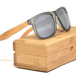 GoWood Sunglasses: Square Bamboo Wood  w/ Silver Polarized Lenses SD-B3-S