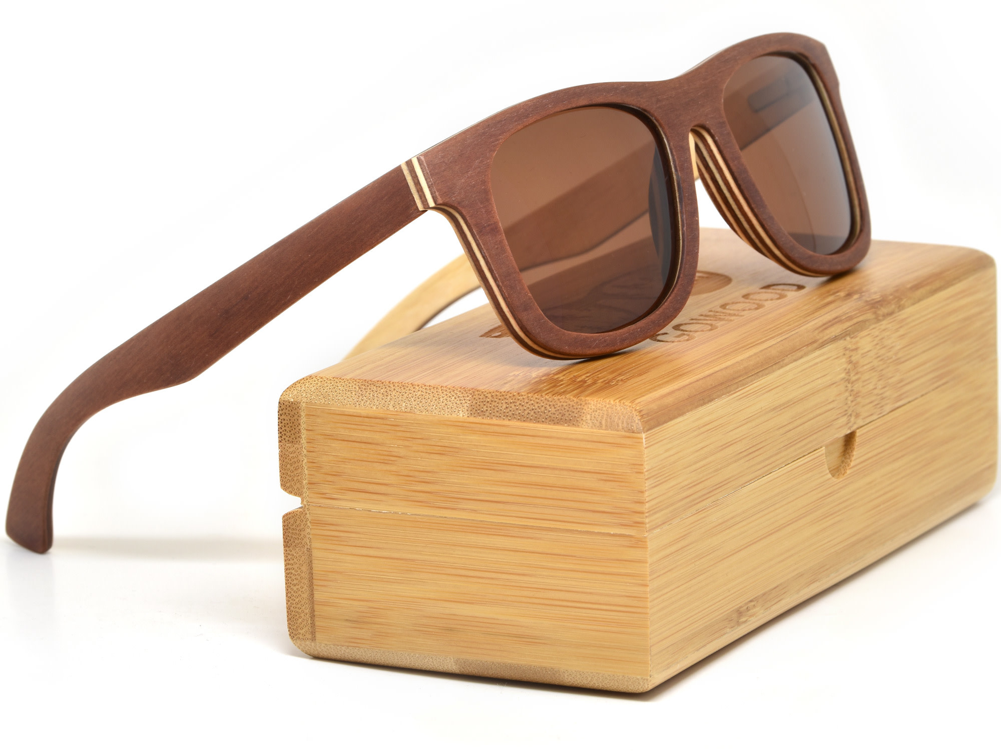 GoWood Sunglasses: Canadian Brown Wood w/Brown Polarized Lense TL1