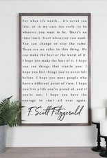 F Scott Fitzgerald Wood Sign