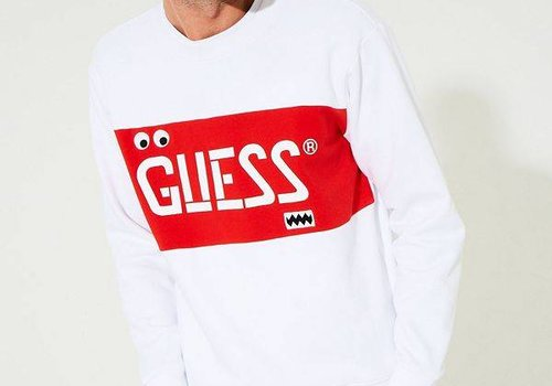 GUESS LS GUESS STENCIL BLOCKED CREW