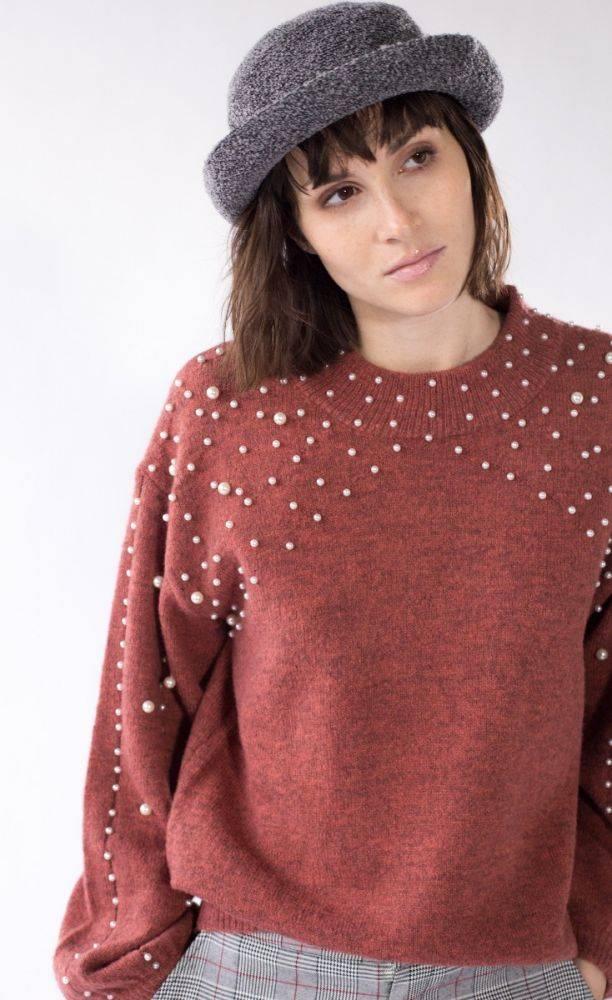 Pink Martini Pink Martini - Orange/Brown Pearl Wide Sleeve Sweater
