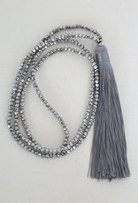 Beck + Boosh - Silver Beaded Tassel Necklace