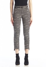 I Love Tyler Madison Tyler Madison - Chanel Houndstooth Print Hi-Lo Belted Pants