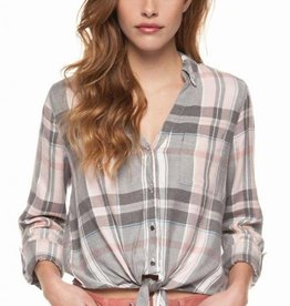 DEX DEX - Pink Plaid Blouse w/ Tie Front