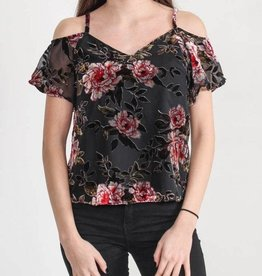 DEX DEX - Black Velvet Rose Cold Shoulder Top