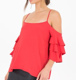 Black Swan Black Swan - Red Cold Shoulder Ruffle 3/4 Slv Top 'Pia'