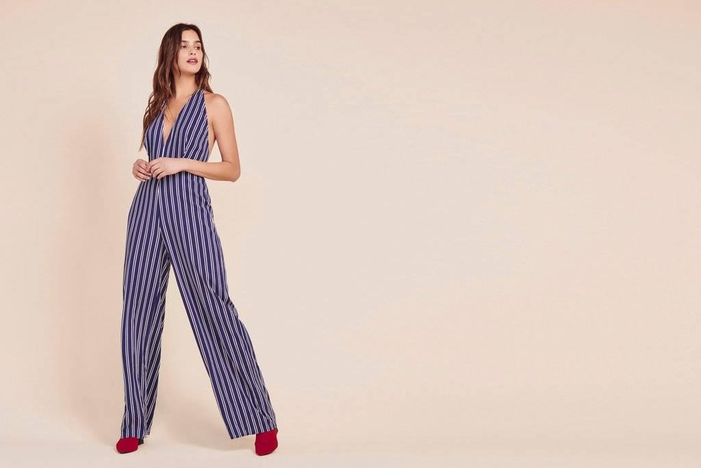 JACK by BB Dakota JACK - Backless Blue/White Stripe Jumpsuit 'All The Way Up'