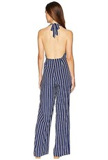 JACK by BB Dakota JACK - Backless Blue/White Stripe Jumpsuit 'All The Way Up'