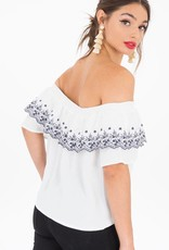 Black Swan Black Swan - White Off The Shoulder Crop Top w/ Blue Embroidery 'Catia'