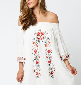 Black Swan Black Swan - White Off The Shoulder Dress w/ Embroidery 'Taryn'