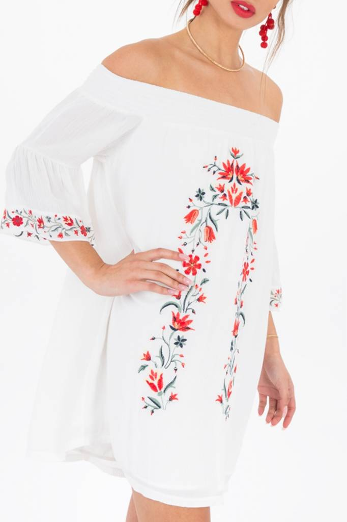 Black Swan Black Swan - White Off The Shoulder Dress w/ Embroidery 'Taryn'