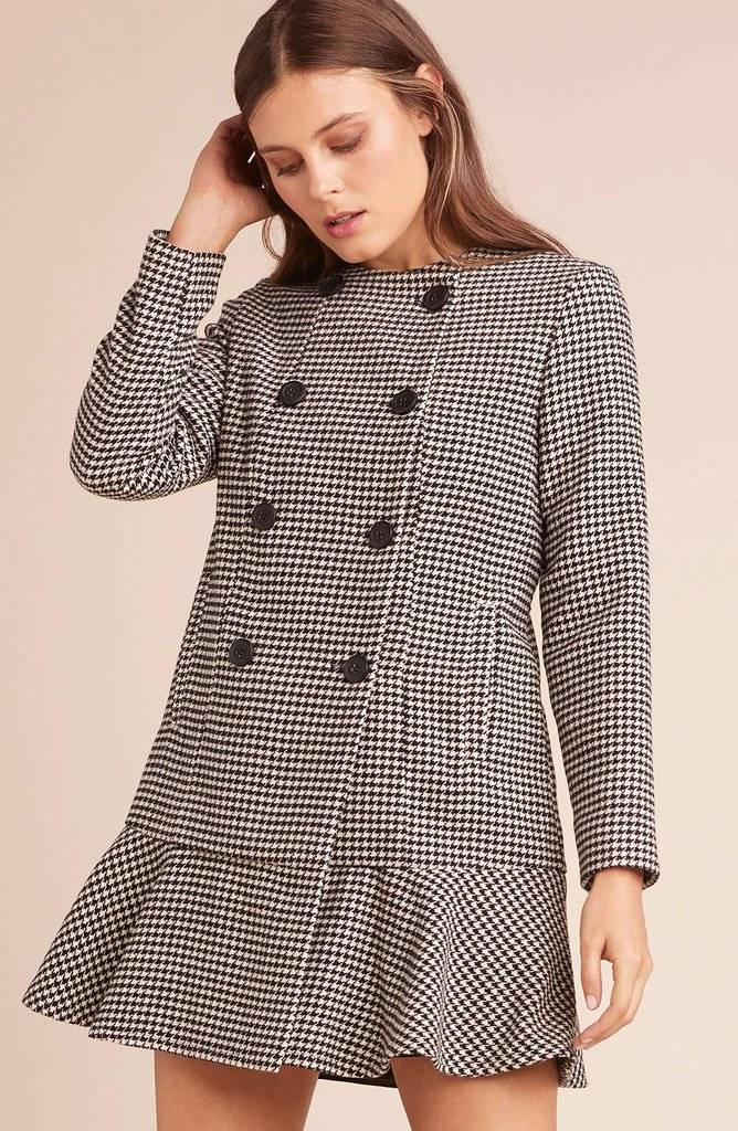 BB Dakota BB Dakota - Houndstooth Jacket w/ Ruffle Bottom 'What's Your Damage'