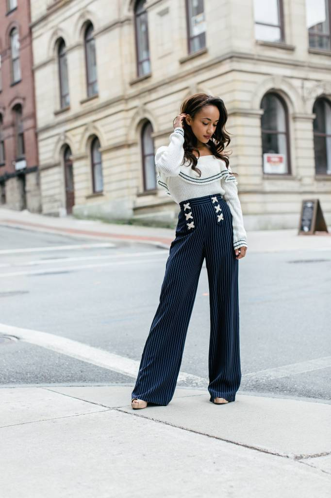 Bishop + Young Bishop + Young - Navy Striped High-Waisted Wide-Leg Pants
