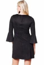 Black Swan Black Swan - Black Skater Suede Dress w/ Bell Slv 'Rosemary'