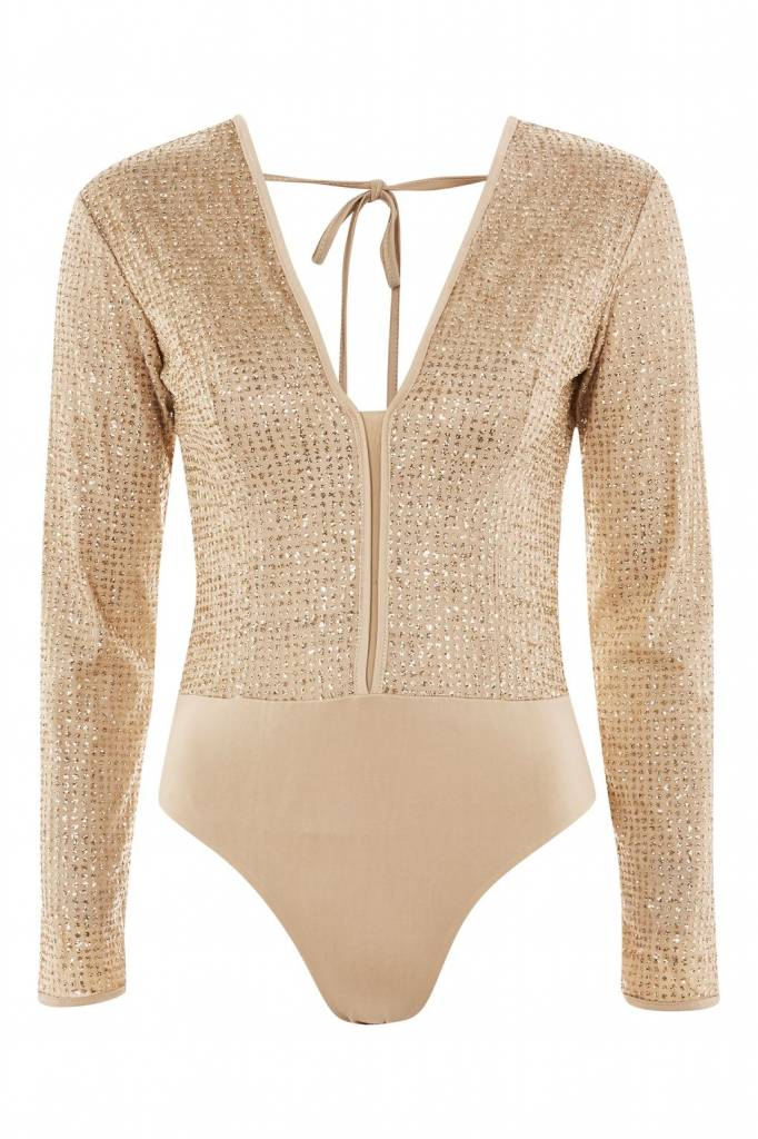WYLDR WYLDR - Gold Sparkly Bodysuit w/ Deep V + Backless