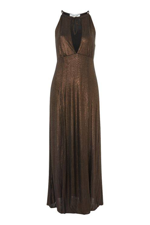WYLDR WYLDR - Brown Metallic Maxi Dress w/ Side Slits