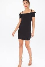 Black Swan - Black Off-Shoulder Dress W/ Ruffle Sleeve