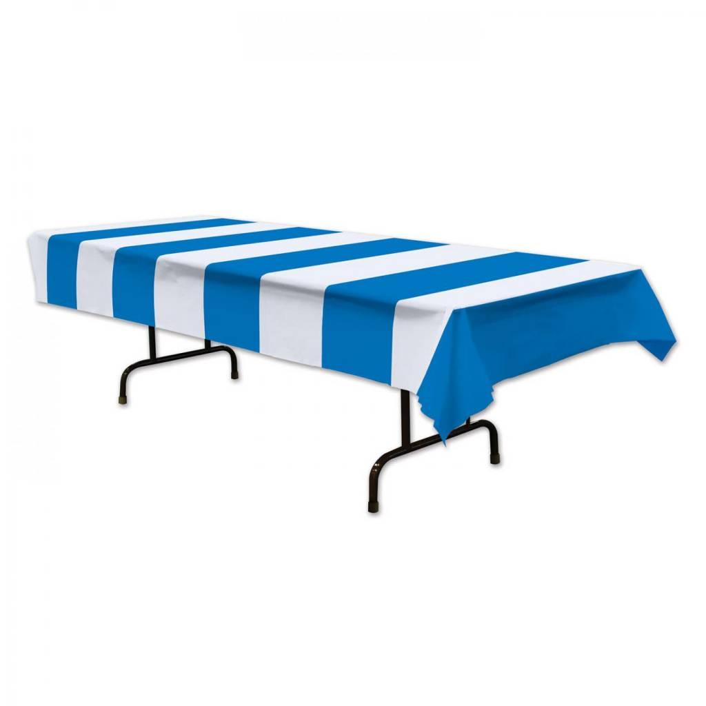 Beistle Co Nappe De Plastique Ligne Bleu Et Blanc