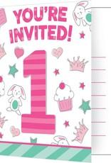 Creative Converting INVITATIONS (8) - PETITS DESSINS FILLE