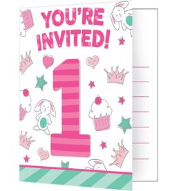 Creative Converting INVITATIONS (8) - PETITS DESSINS FILLE
