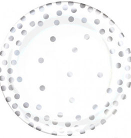 Amscan ASSIETTES EN PLASTIQUE 6.25'' (20) - BLANC À PICOTS ARGENT