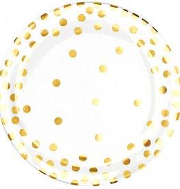 Amscan ASSIETTES EN PLASTIQUE 6.25'' (20) - BLANC À PICOTS OR