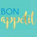 Amscan SERVIETTES À COCKTAIL (16) - BON APPÉTIT TURQUOISE