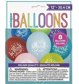 """Unique SAC DE 8 BALLONS LATEX 12"""" - BONNE RETRAITE"""