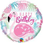 Qualatex BALLON MYLAR 18PO - HAPPY BIRTHDAY FLAMANT