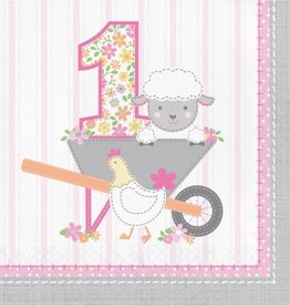 Creative Converting SERVIETTES DE TABLE (16) - FÊTE À LA FERME FILLE 1ANS