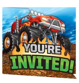 Creative Converting INVITATIONS (8) - MONSTER TRUCK