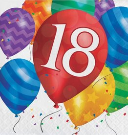 Creative Converting SERVIETTES DE TABLE (16) - BALLONS 18 ANS