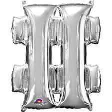 Anagram BALLON MYLAR SUPERSHAPE - SYMBOLE # - ARGENT