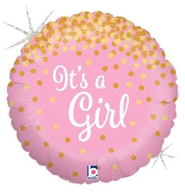 Betallic BALLON MYLAR 18PO GLITTER HOLO - IT'S A GIRL