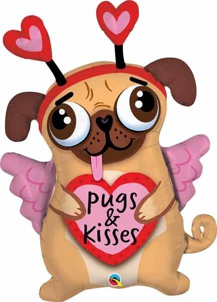 Qualatex BALLON SUPERSHAPE - PUGS AND KISSES