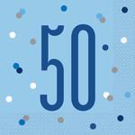 Unique SERVIETTES DE TABLE BLEU (16) - 50ANS