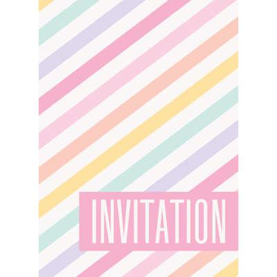 Unique CARTE D'INVITATIONS (8) - RAYURES PASTEL