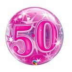 "Qualatex 50 PINK STARBURST 22"" BUBBLE"