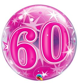 Qualatex BALLON BUBBLES 60ANS ROSE