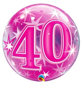 Qualatex BALLON BUBBLES 40ANS ROSE