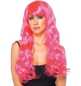 Leg Avenue Neon Star long wavy wig O/S NEON PINK