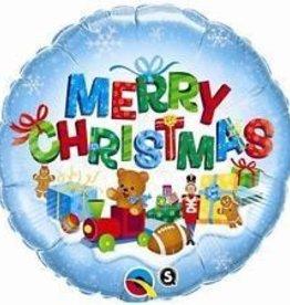 Qualatex MYLAR 18PO «MERRY CHRISTMAS» AVEC JOUETS