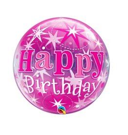 "Qualatex BDAY PINK STARBURST 22"" BUBBLE"