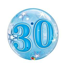 Qualatex BALLON BUBBLES 30 ANS BLEU